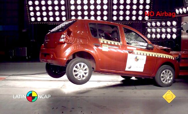 Renault Logan 2014 краш тест силу удара на себя